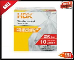 250Ct 10 Gallon Waste Liner Clear Rubbish Bags Trash Garbage Office Home Kitchen $9.03