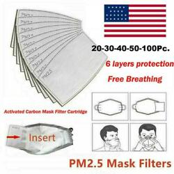 20 100 pcs PM2.5 Activated Carbon Filter Pad 5 Layer Replacement Face Mask Cover $7.89