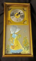 Vtg Holly Hobby Wall Clock Framed Hanging Picture Decor $49.99