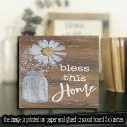 Bless this Home Inspirational Wood Sign Fall Farmhouse Shelf Sitter 5quot;x5quot;x1 8quot; $12.99
