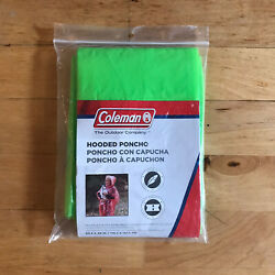 Coleman Emergency Hooded Poncho 50.5in X 40in Universal Size GREEN $4.00