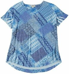 OneWorld Plus Boho Patchwork Scoop Neck Top $14.03