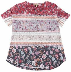 OneWorld Plus Boho Floral Stripe Scoop Neck Top $14.03