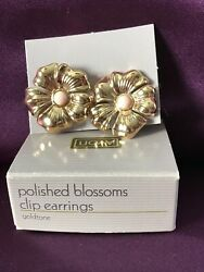 VTG AVON Earrings Clip On w Box Polished Blossoms Gold Tone Pink Flower Sweet $6.99