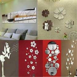 Removable Mirror Decal Art Mural Wall Stickers Home Decor DIY Room Decoration j $2.37