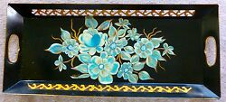 ANTIQUE Tole Tray HAND PAINTED SIGNED Fret and Handle Cut out Blue Gold Long $44.99