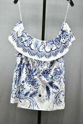 Tribal Printed Crinkle Knit Off Shoulder Top with Frill Women#x27;s Size XL Blue $18.50