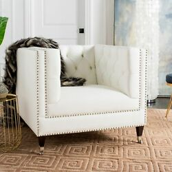 Safavieh Couture Miller White Tufted Leather Commercial White 36.8 in w x 34.3 i