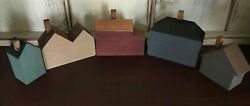 Country Primitive Rustic Wood Houses Set of 5 $7.99