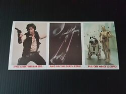 1977 Star Wars BK Chewbacca Han Solo Death Star R2D2 C3PO UNCUT Sheet of 3 cards $9.77