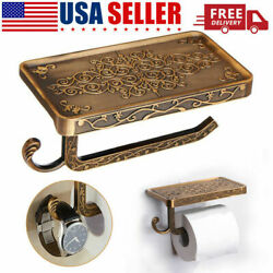 Bathroom Roll Tissue Rack Brass Toilet Paper Phone Holder with Storage Shelf USA $10.89