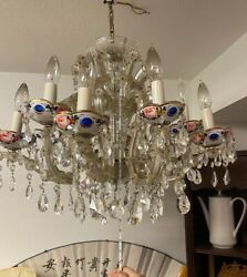 Antique Bohemian Glass Hanging Lamp Chandelier Cut to Blue Crystal Prisms $387.99