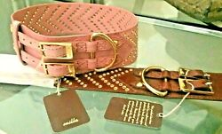 Handcrafted Studded Western Leather Dog Collars Dusty Pink Cognac New LG dog $80.00