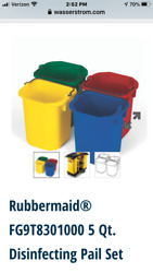 RUBBERMAID COMMERCIAL PRODUCTS FG9T83010000 Disinfectant Pail Set1 1 4 gal.PK4