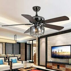 52quot; Crystal Ceiling Modern Fan Lamp LED Chandelier Wood Blades Remote Control $173.00
