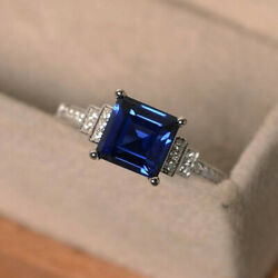 Fashion 925 Silver Rings Women Jewelry Blue Sapphire Wedding Ring Size 6 10