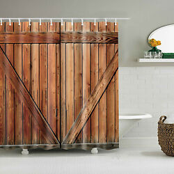 Antique Wooden Shower Curtain Rustic Planks Barn Wood Pattern Shower Curtains $15.69