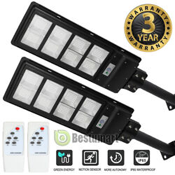 1 2Pack 120W Outdoor Commercial LED Solar Street Light Radar SensorRemoteamp;Pole