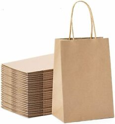 100pcs Kraft Paper Bags 5.25quot; x 3.75quot; x 8quot;Handled GiftCarryParty Bags Brown $48.58