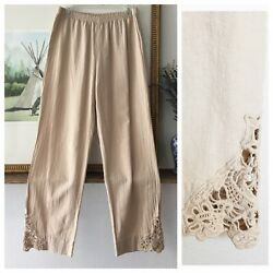 Soft Surroundings Touch of Lace Pants Small Tall Stretch Waist cotton Women $25.00