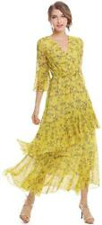 XINUO Womens Dresses Yellow Floral Maxi Dress V Neck High Yellow Size X Large $28.00