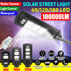 Solar LED Street Light with Remote Commercial Outdoor Motion Sensor Dusk to Dawn