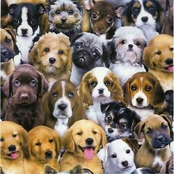 Kids Novelty Cotton Fabric Dogs amp; Puppies By the Half Yard 100% Cotton DIY CRAFT $7.99