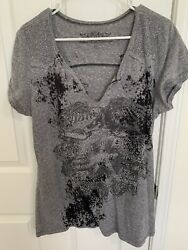 MAURICES WOMENS GRAY amp; BLACK GRAPHIC PRINT WITH EAGEL AND RHINESTONES SIZE XL $9.95