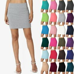 TheMogan Double Layer High Waisted Casual Stretch Jersey Bodycon Mini Skirt $11.99