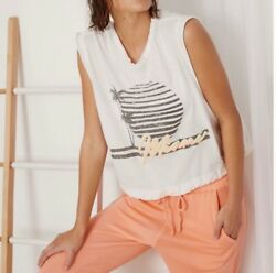 Free People Movement Womens Size Small S White Bring The Heat Miami Graphic Tank $24.98