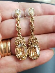 Givenchy Crystal Chandelier Earrings Dangle Golden Swarovski Crystals 2quot; $45.00