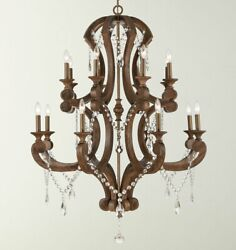 Large 16 Light Rustic Wood amp; Crystal Horchow Chandelier French Tuscan Chateau $2954.00