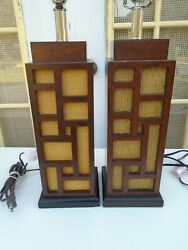 Fretwork Pair Table Lamps Chippendale Asian Tommy Bahama Hollywood Regency 2 $220.00