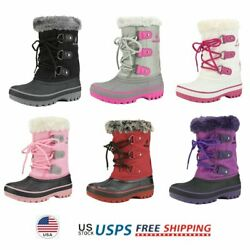 Kids Boys Girls Snow Boots Faux Fur Lined Ankle Winter Snow Boots Ski Boots $25.73
