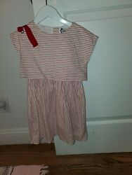 JEAN BOURGET WHITE RED GIRLS DRESS GROSGRAIN BOW SZ 6 $19.00
