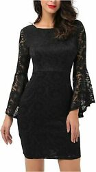 Noctflos Long Sleeve Lace Cocktail Dresses for Women Party Black 01 Size Large $23.99