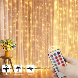 300 LED 10ft Curtain Fairy Hanging String Lights LED Home Wedding Party 8 Modes