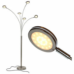Brightech Orion 5 LED Adjustable Bright Touch Sensor Floor Lamp Nickel Used