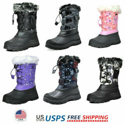 Kids Boys Girls Snow Boots Faux Fur Lined Insulated Waterproof Winter Ski Boots $25.49