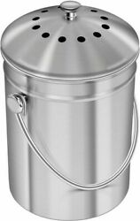 Stainless Steel Indoor Compost Bucket for Kitchen Countertop 1.3G Carbon filter $13.00