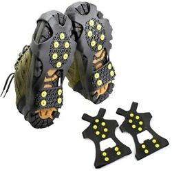 10 Studs Anti Skid Slip Ice Gripper Snow Shoe Spikes Grips Cleats 1 Pair Winter $13.98