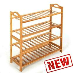 4 SHOE RACK TIER NATURAL BAMBOO WOODEN ORGANIZER STAND STORAGE SHELF UNIT $22.28