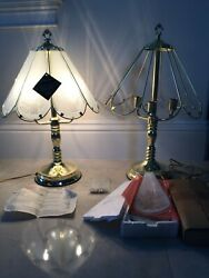 Vintage Art Deco Pair Lamps Table Lamp Etched Glass Shades Brass Tone Shinny $9.99