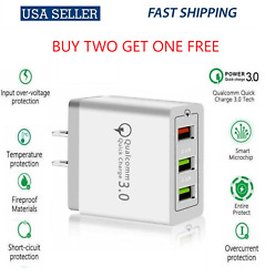 3 Port USB Home Wall Fast Charger QC 3.0 for Cell Phone iPhone Samsung Android $6.48
