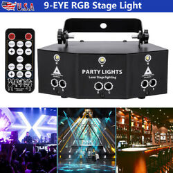Laser LED Light Remote 9 Eye RGB DMX Scan Projector Strobe DJ Stage Lights Gift $68.99