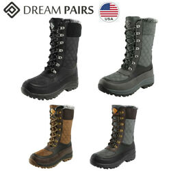 DREAM PAIRS Women#x27;s Mid Calf Warm Faux Fur Lined Waterproof Winter Snow Boots $38.94