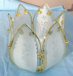 Vtg Lotus Flower Lamp Replacement Inner Petal Metal Frame Glass White Frosted #1 $14.00