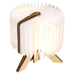Wooden Paper LED Folding Book Lamp USB Rechargeable Reading Lights Household $30.03