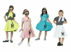 50s Poodle Girls Costume Rock n Roll Childrens Kids 1950s Fancy Dress Outfit $34.83