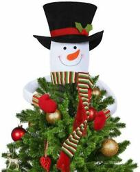 Winter Holiday Party Decoration Christmas Tree Topper Snowman Hugger Scarf $11.98